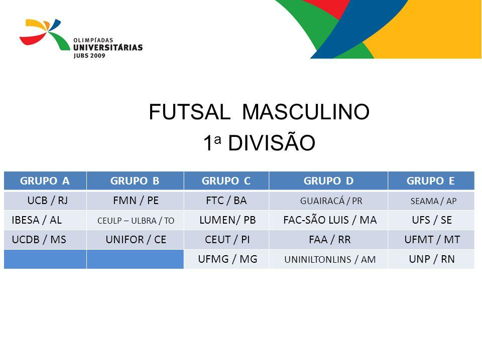FUTSAL MASCULINO 1 a DIVISÃO GRUPO AGRUPO BGRUPO CGRUPO DGRUPO E UCB / RJ FMN / PEFTC / BA GUAIRACÁ / PR SEAMA / AP IBESA / AL CEULP – ULBRA / TO LUME