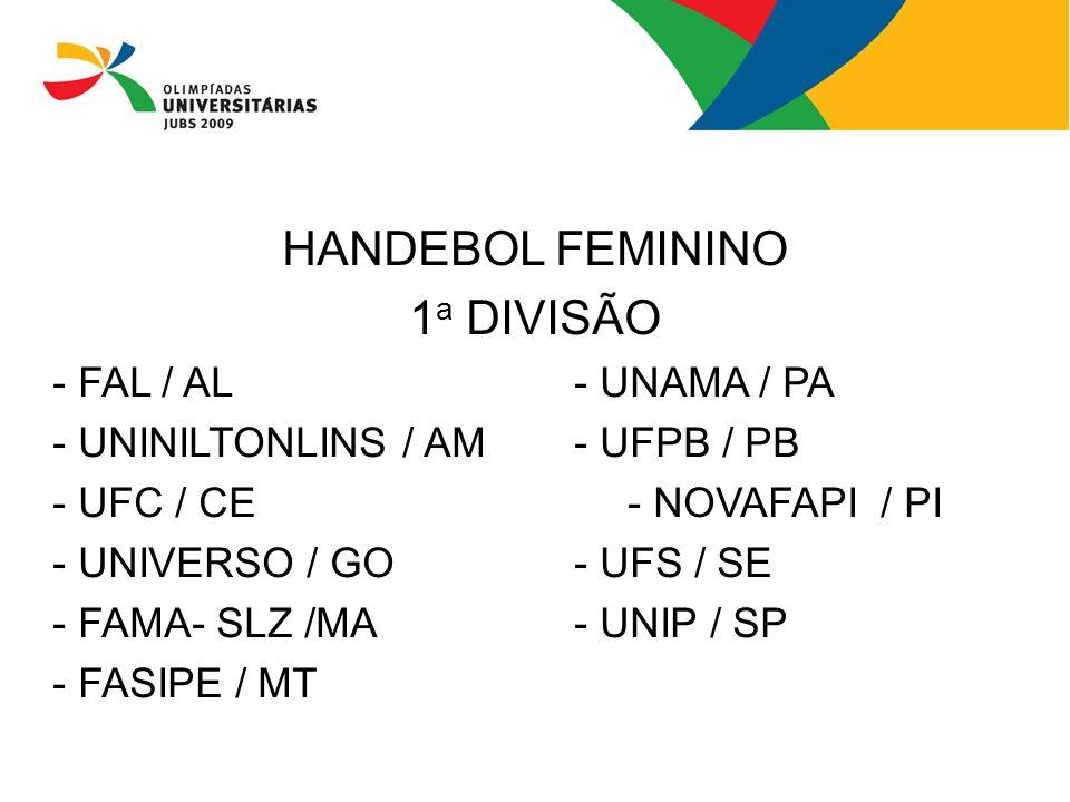 HANDEBOL FEMININO 1 a DIVISÃO - FAL / AL- UNAMA / PA - UNINILTONLINS / AM- UFPB / PB - UFC / CE- NOVAFAPI / PI - UNIVERSO / GO- UFS / SE - FAMA- SLZ /