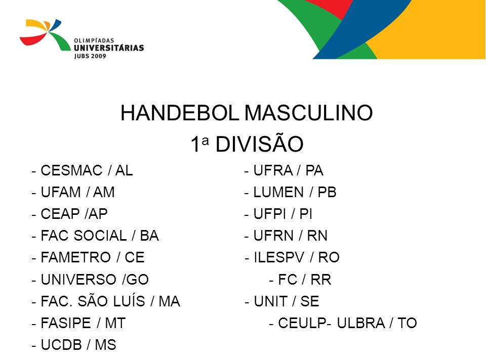 HANDEBOL MASCULINO 1 a DIVISÃO - CESMAC / AL- UFRA / PA - UFAM / AM- LUMEN / PB - CEAP /AP- UFPI / PI - FAC SOCIAL / BA- UFRN / RN - FAMETRO / CE - IL