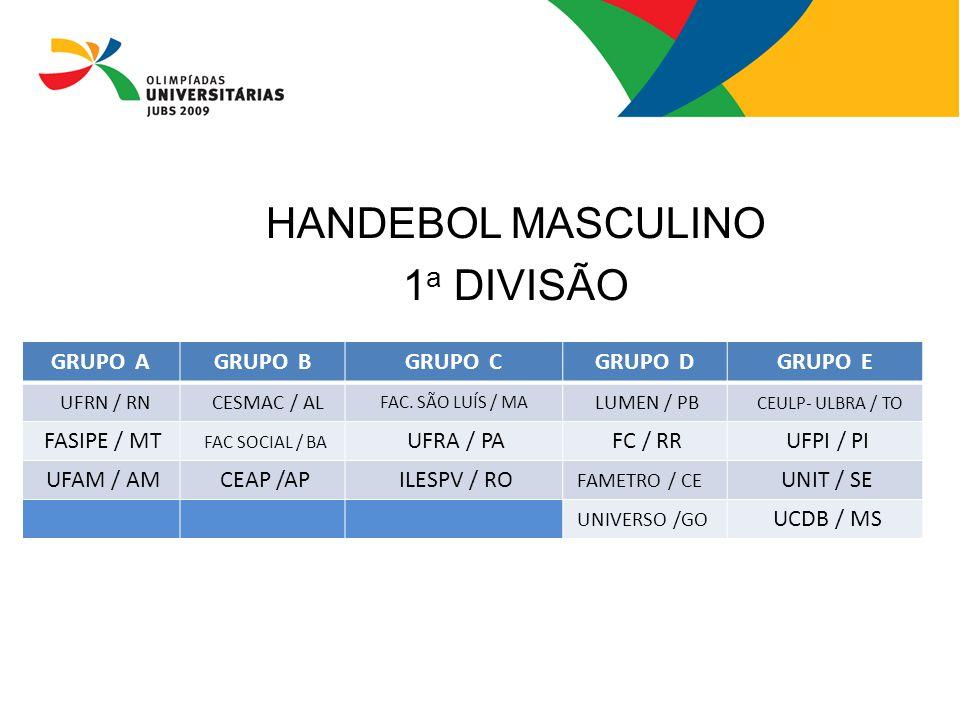 HANDEBOL MASCULINO 1 a DIVISÃO GRUPO AGRUPO BGRUPO CGRUPO DGRUPO E UFRN / RN CESMAC / AL FAC. SÃO LUÍS / MA LUMEN / PB CEULP- ULBRA / TO FASIPE / MT F