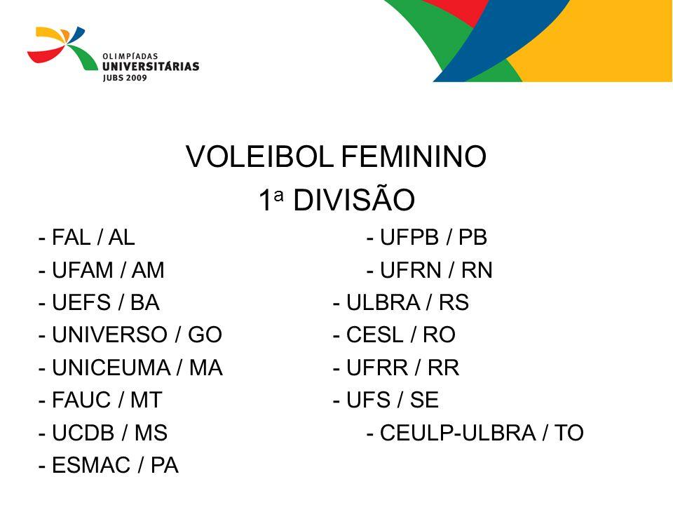 VOLEIBOL FEMININO 1 a DIVISÃO - FAL / AL- UFPB / PB - UFAM / AM- UFRN / RN - UEFS / BA- ULBRA / RS - UNIVERSO / GO- CESL / RO - UNICEUMA / MA - UFRR /