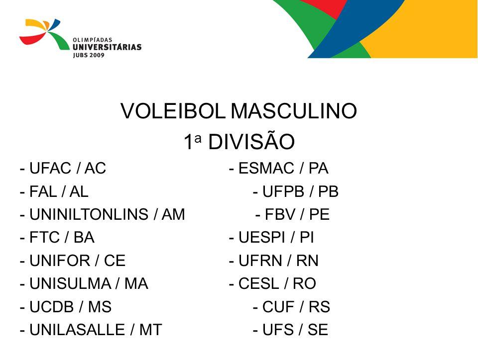 VOLEIBOL MASCULINO 1 a DIVISÃO - UFAC / AC- ESMAC / PA - FAL / AL- UFPB / PB - UNINILTONLINS / AM - FBV / PE - FTC / BA- UESPI / PI - UNIFOR / CE - UF