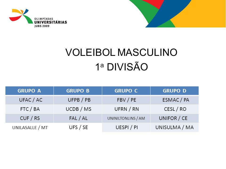 VOLEIBOL MASCULINO 1 a DIVISÃO GRUPO AGRUPO BGRUPO CGRUPO D UFAC / AC UFPB / PB FBV / PE ESMAC / PA FTC / BA UCDB / MS UFRN / RN CESL / RO CUF / RS FA