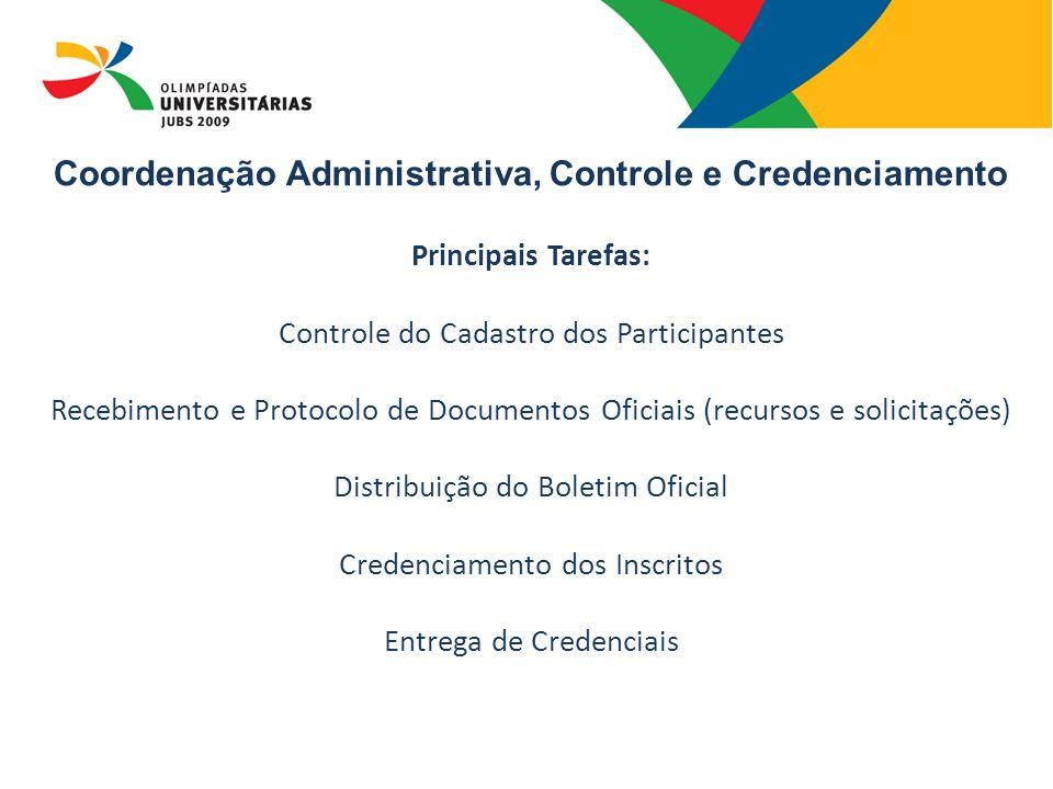 Principais Tarefas: Controle do Cadastro dos Participantes Recebimento e Protocolo de Documentos Oficiais (recursos e solicitações) Distribuição do Boletim Oficial Credenciamento dos Inscritos Entrega de Credenciais