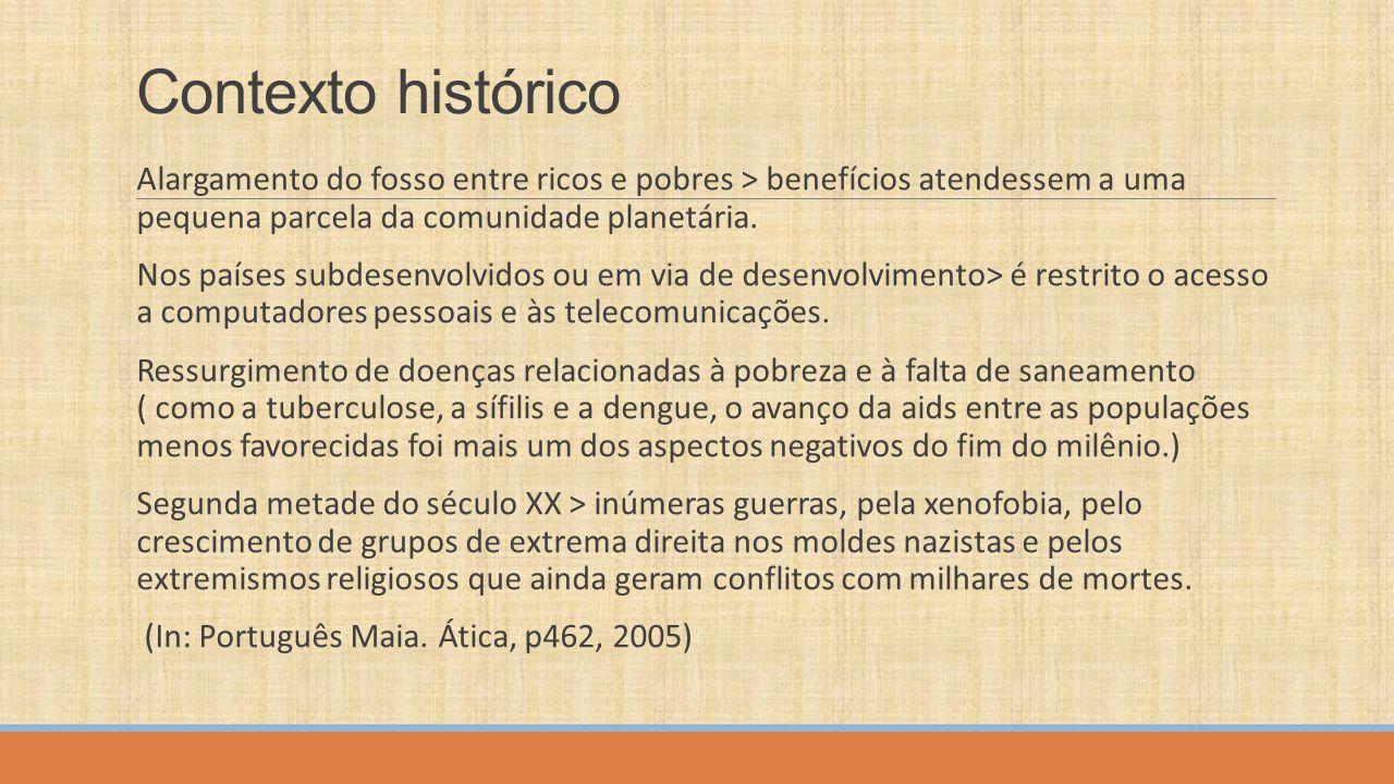 Contexto histórico brasileiro No Brasil, nos anos 60 (cujo governo era JK), uma grande euforia política e econômica, com amplos reflexos culturais: Bossa Nova, Cinema Novo, teatro de Arena, as Vanguardas e a Televisão.