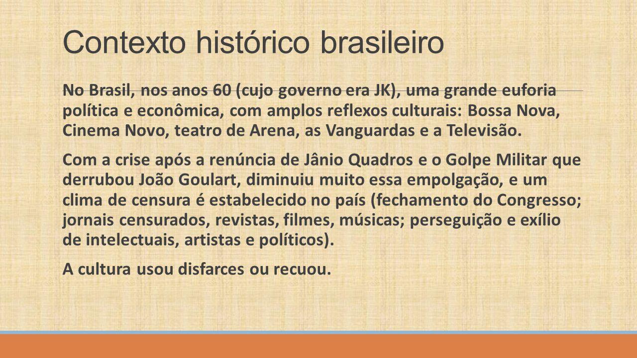 Contexto histórico brasileiro No Brasil, nos anos 60 (cujo governo era JK), uma grande euforia política e econômica, com amplos reflexos culturais: Bo