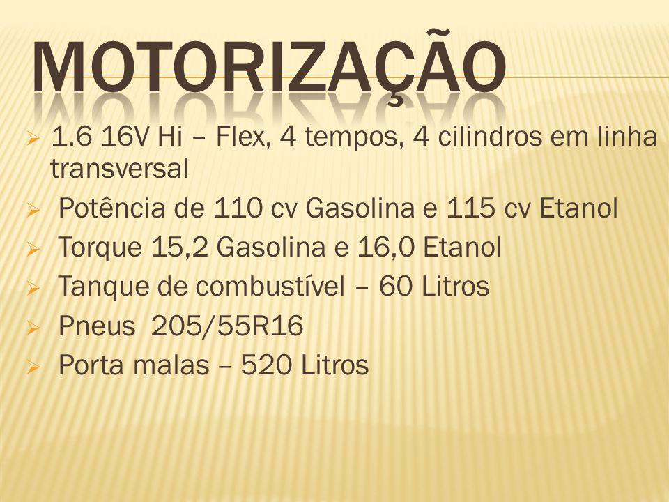  1.6 16V Hi – Flex, 4 tempos, 4 cilindros em linha transversal  Potência de 110 cv Gasolina e 115 cv Etanol  Torque 15,2 Gasolina e 16,0 Etanol  Tanque de combustível – 60 Litros  Pneus 205/55R16  Porta malas – 520 Litros