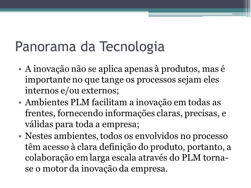 Panorama da Tecnologia A inovação não se aplica apenas à produtos, mas é importante no que tange os processos sejam eles internos e/ou externos; Ambie