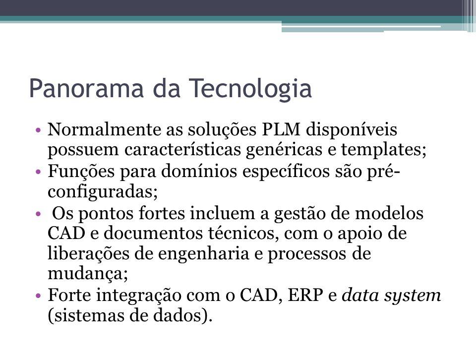 Panorama da Tecnologia Normalmente as soluções PLM disponíveis possuem características genéricas e templates; Funções para domínios específicos são pr