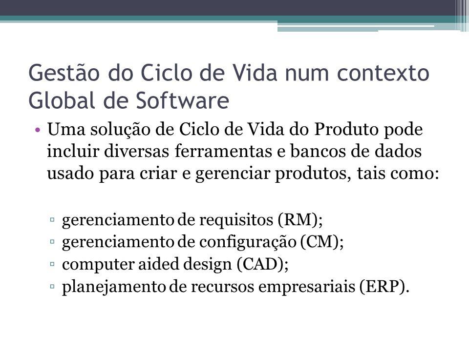 Gestão do Ciclo de Vida num contexto Global de Software Uma solução de Ciclo de Vida do Produto pode incluir diversas ferramentas e bancos de dados usado para criar e gerenciar produtos, tais como: ▫gerenciamento de requisitos (RM); ▫gerenciamento de configuração (CM); ▫computer aided design (CAD); ▫planejamento de recursos empresariais (ERP).