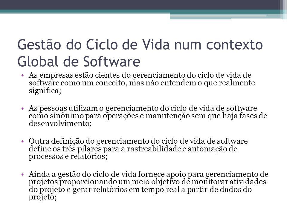Gestão do Ciclo de Vida num contexto Global de Software As empresas estão cientes do gerenciamento do ciclo de vida de software como um conceito, mas