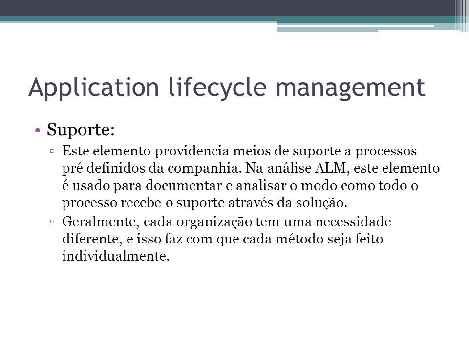 Application lifecycle management Suporte: ▫Este elemento providencia meios de suporte a processos pré definidos da companhia. Na análise ALM, este ele