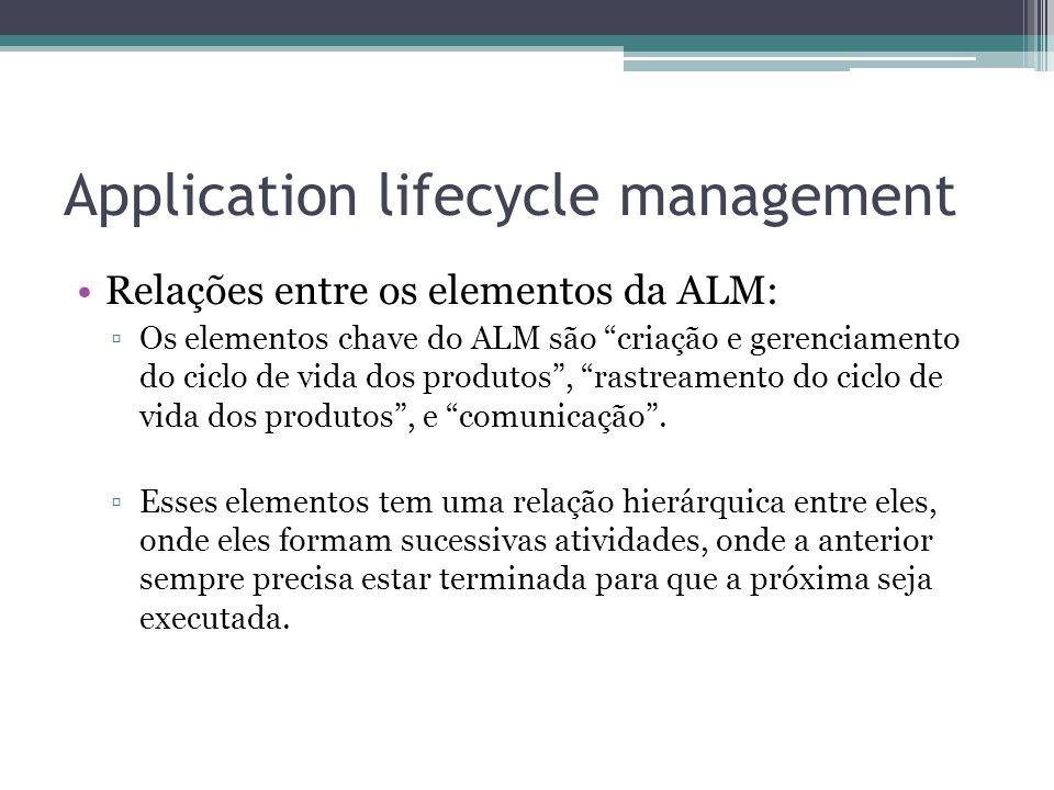 Application lifecycle management Relações entre os elementos da ALM: ▫Os elementos chave do ALM são criação e gerenciamento do ciclo de vida dos produtos , rastreamento do ciclo de vida dos produtos , e comunicação .