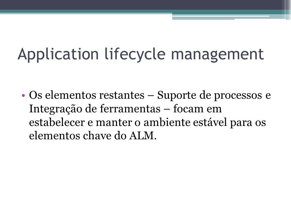 Application lifecycle management Os elementos restantes – Suporte de processos e Integração de ferramentas – focam em estabelecer e manter o ambiente estável para os elementos chave do ALM.