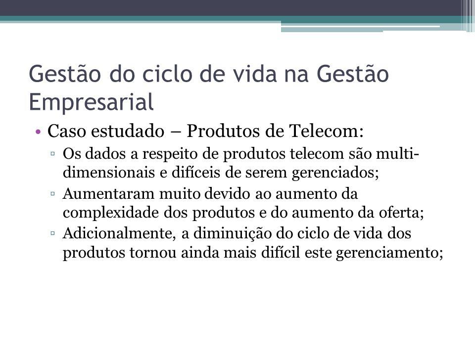 Gestão do ciclo de vida na Gestão Empresarial Caso estudado – Produtos de Telecom: ▫Os dados a respeito de produtos telecom são multi- dimensionais e