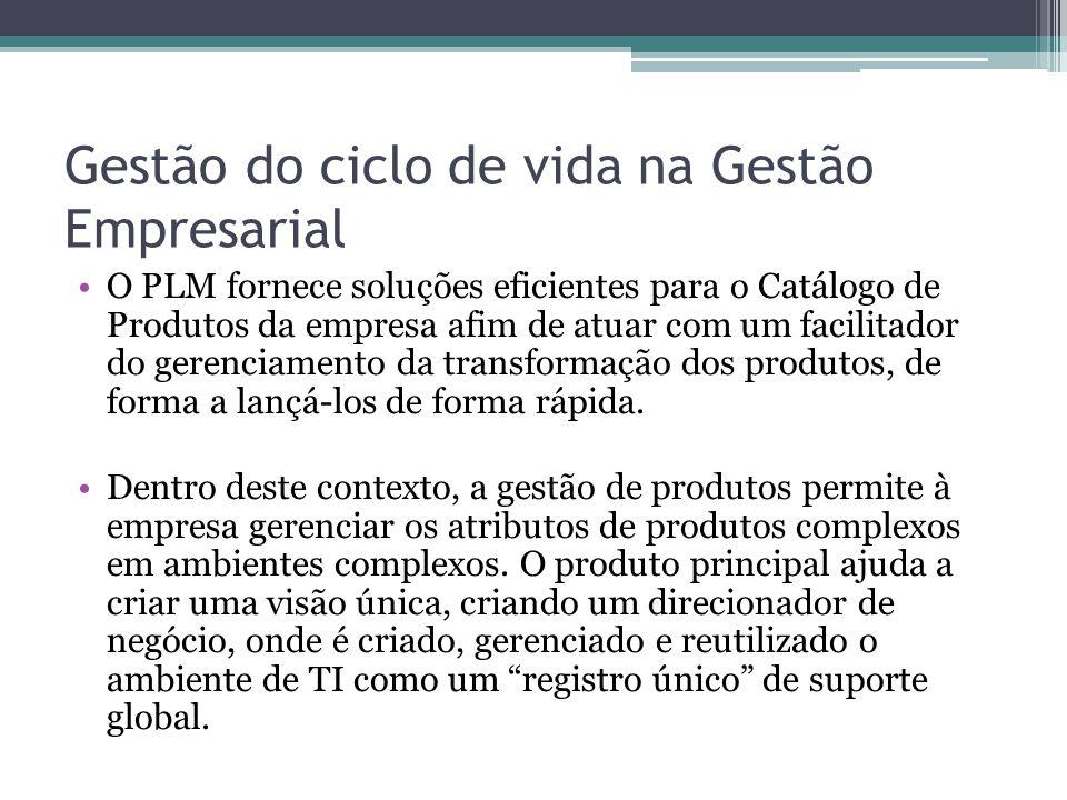 Gestão do ciclo de vida na Gestão Empresarial O PLM fornece soluções eficientes para o Catálogo de Produtos da empresa afim de atuar com um facilitador do gerenciamento da transformação dos produtos, de forma a lançá-los de forma rápida.