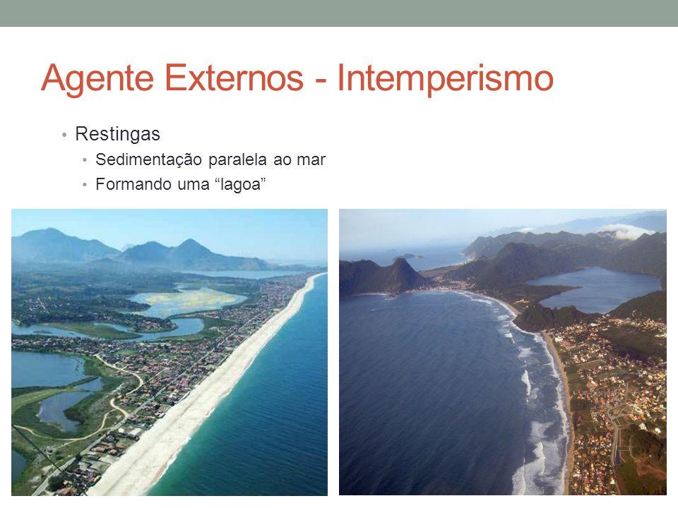 """Agente Externos - Intemperismo Restingas Sedimentação paralela ao mar Formando uma """"lagoa"""""""