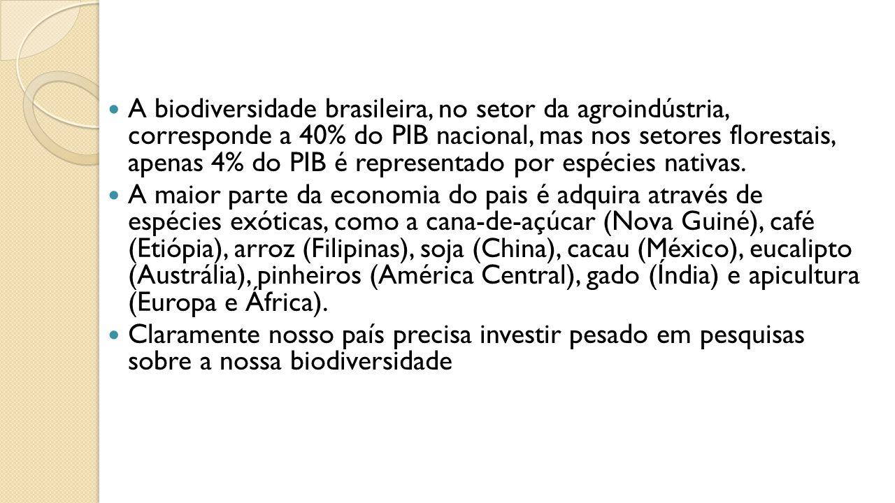 A biodiversidade brasileira, no setor da agroindústria, corresponde a 40% do PIB nacional, mas nos setores florestais, apenas 4% do PIB é representado por espécies nativas.