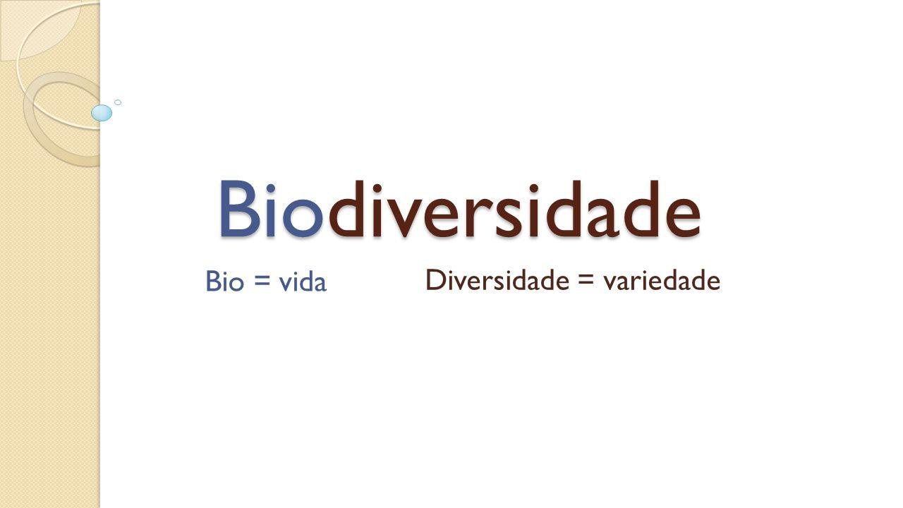 Biodiversidade Bio = vida Diversidade = variedade