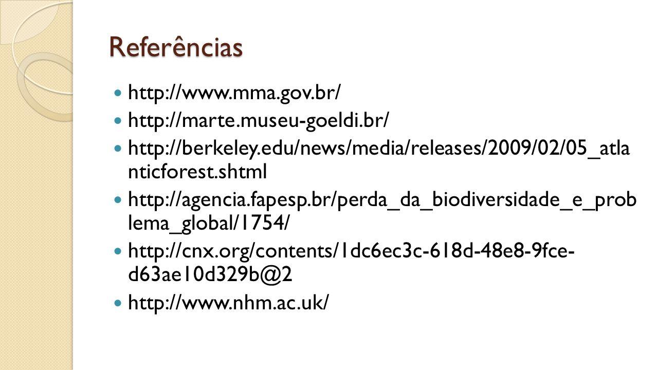 Referências http://www.mma.gov.br/ http://marte.museu-goeldi.br/ http://berkeley.edu/news/media/releases/2009/02/05_atla nticforest.shtml http://agencia.fapesp.br/perda_da_biodiversidade_e_prob lema_global/1754/ http://cnx.org/contents/1dc6ec3c-618d-48e8-9fce- d63ae10d329b@2 http://www.nhm.ac.uk/