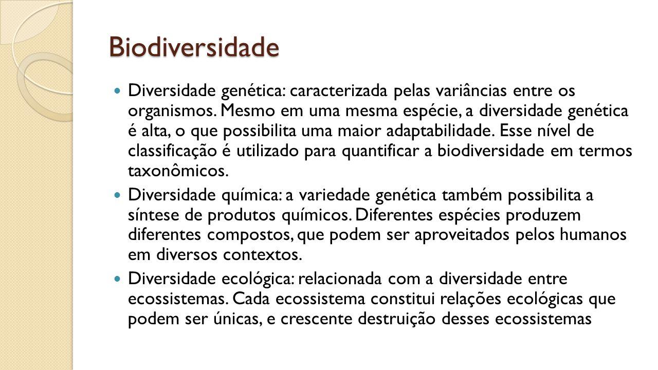 Biodiversidade Diversidade genética: caracterizada pelas variâncias entre os organismos.