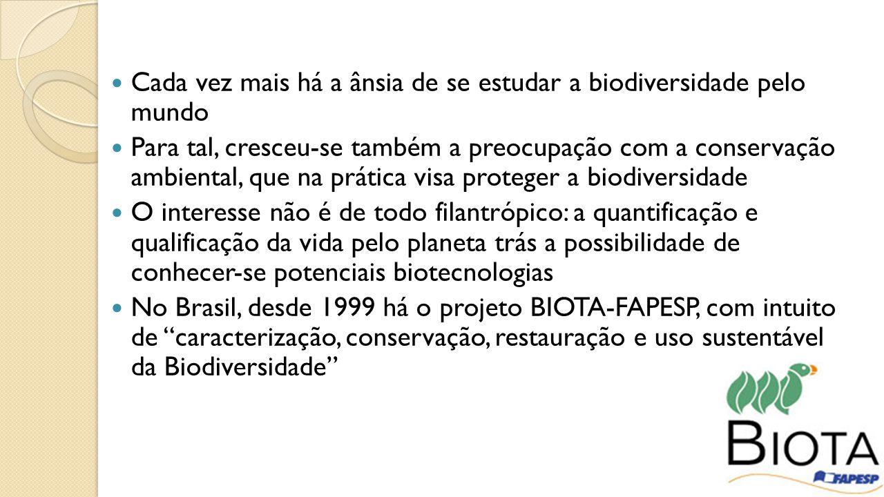 Cada vez mais há a ânsia de se estudar a biodiversidade pelo mundo Para tal, cresceu-se também a preocupação com a conservação ambiental, que na prática visa proteger a biodiversidade O interesse não é de todo filantrópico: a quantificação e qualificação da vida pelo planeta trás a possibilidade de conhecer-se potenciais biotecnologias No Brasil, desde 1999 há o projeto BIOTA-FAPESP, com intuito de caracterização, conservação, restauração e uso sustentável da Biodiversidade