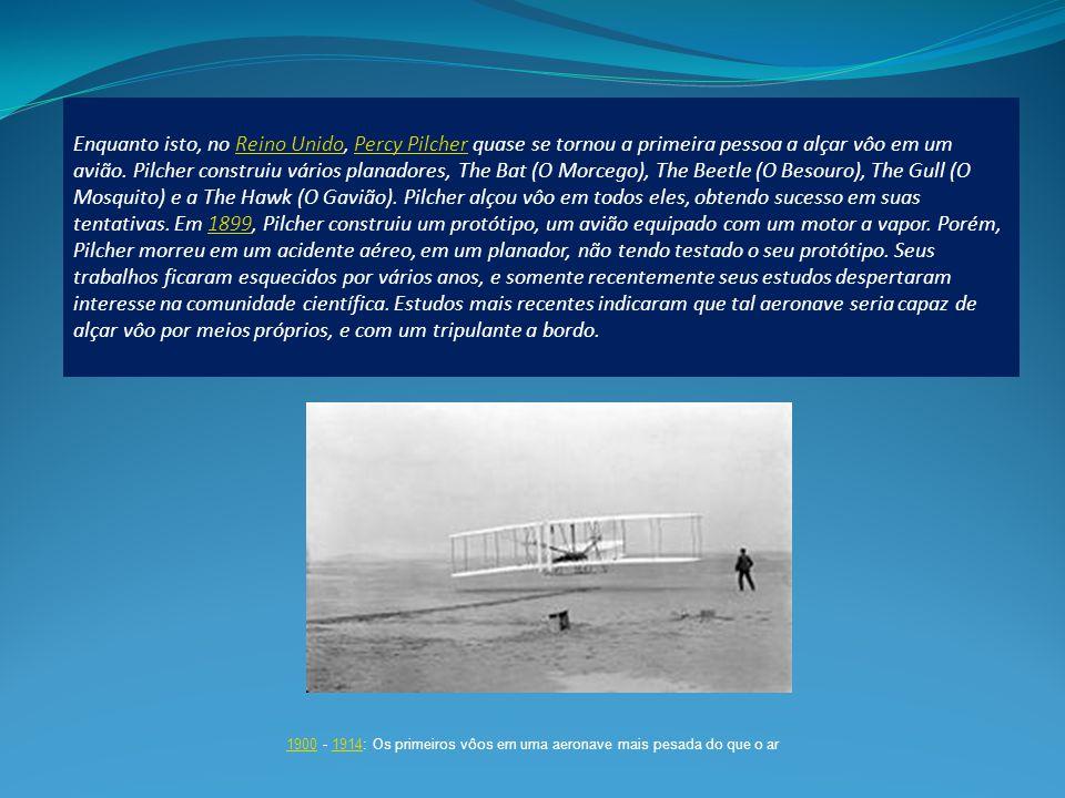 Enquanto isto, no Reino Unido, Percy Pilcher quase se tornou a primeira pessoa a alçar vôo em um avião.