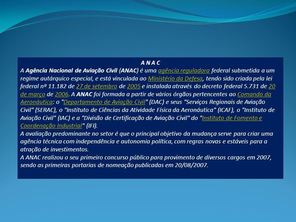A N A C A Agência Nacional de Aviação Civil (ANAC) é uma agência reguladora federal submetida a um regime autárquico especial, e está vinculada ao Ministério da Defesa, tendo sido criada pela lei federal nº 11.182 de 27 de setembro de 2005 e instalada através do decreto federal 5.731 de 20 de março de 2006.