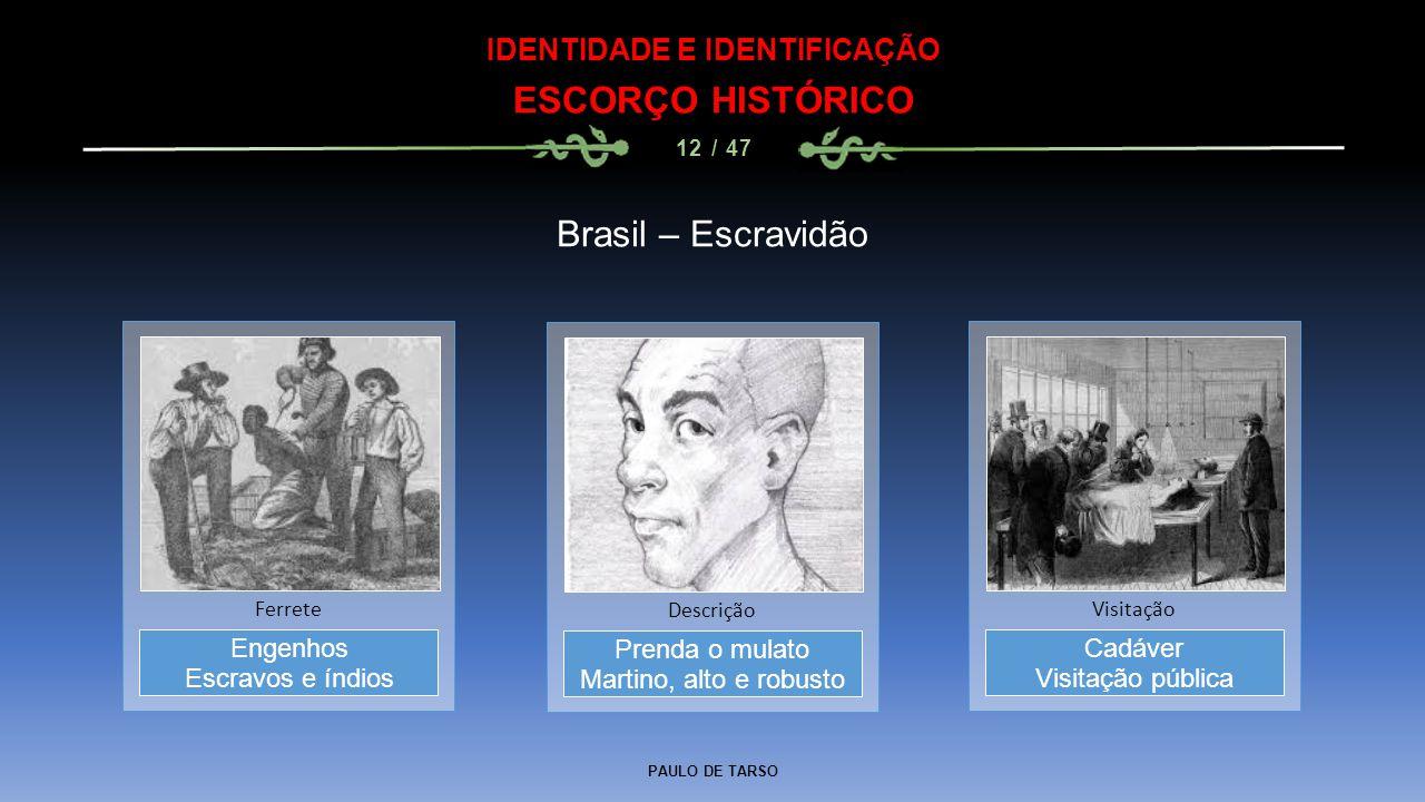 PAULO DE TARSO IDENTIDADE E IDENTIFICAÇÃO ESCORÇO HISTÓRICO 12 / 47 Brasil – Escravidão Prenda o mulato Martino, alto e robusto Descrição Engenhos Esc