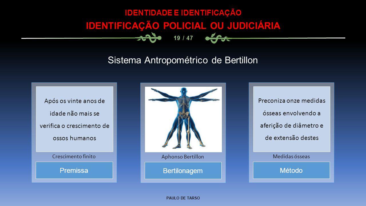 PAULO DE TARSO IDENTIDADE E IDENTIFICAÇÃO IDENTIFICAÇÃO POLICIAL OU JUDICIÁRIA 19 / 47 Sistema Antropométrico de Bertillon Bertilonagem Aphonso Bertil