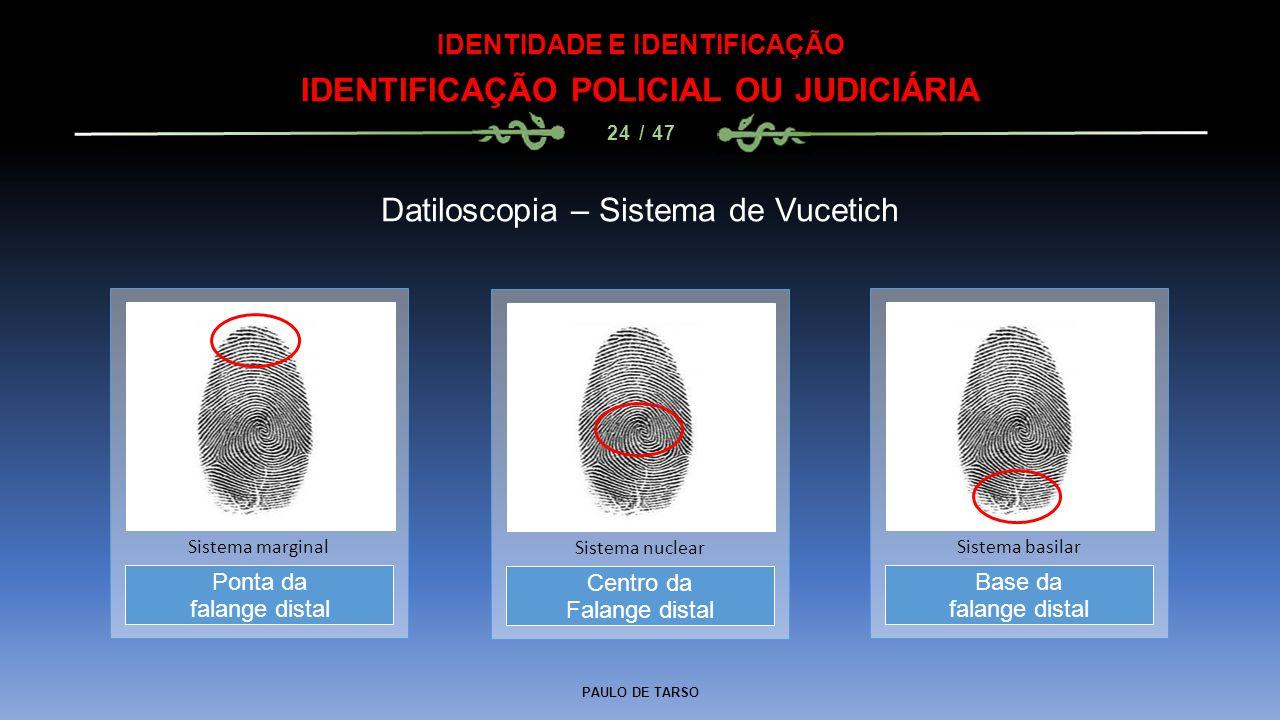 PAULO DE TARSO IDENTIDADE E IDENTIFICAÇÃO IDENTIFICAÇÃO POLICIAL OU JUDICIÁRIA 24 / 47 Datiloscopia – Sistema de Vucetich Centro da Falange distal Sis