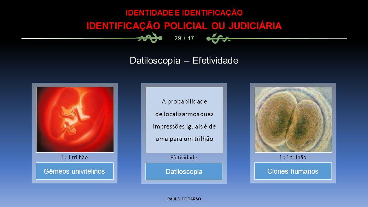 PAULO DE TARSO IDENTIDADE E IDENTIFICAÇÃO IDENTIFICAÇÃO POLICIAL OU JUDICIÁRIA 29 / 47 Datiloscopia – Efetividade Datiloscopia Efetividade Gêmeos univ