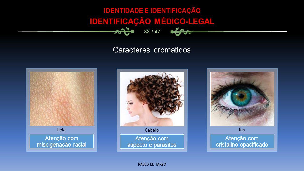 PAULO DE TARSO IDENTIDADE E IDENTIFICAÇÃO IDENTIFICAÇÃO MÉDICO-LEGAL 32 / 47 Caracteres cromáticos Atenção com aspecto e parasitos Cabelo Atenção com