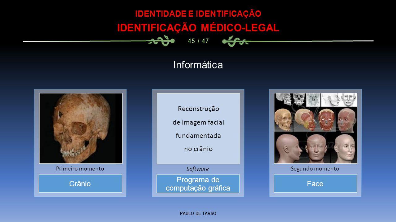 PAULO DE TARSO IDENTIDADE E IDENTIFICAÇÃO IDENTIFICAÇÃO MÉDICO-LEGAL 45 / 47 Informática Programa de computação gráfica Software Crânio Primeiro momen