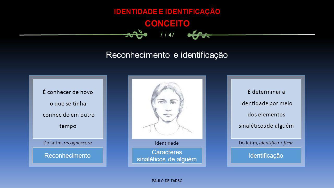 PAULO DE TARSO IDENTIDADE E IDENTIFICAÇÃO CONCEITO 7 / 47 Reconhecimento e identificação Caracteres sinaléticos de alguém Identidade Reconhecimento Do