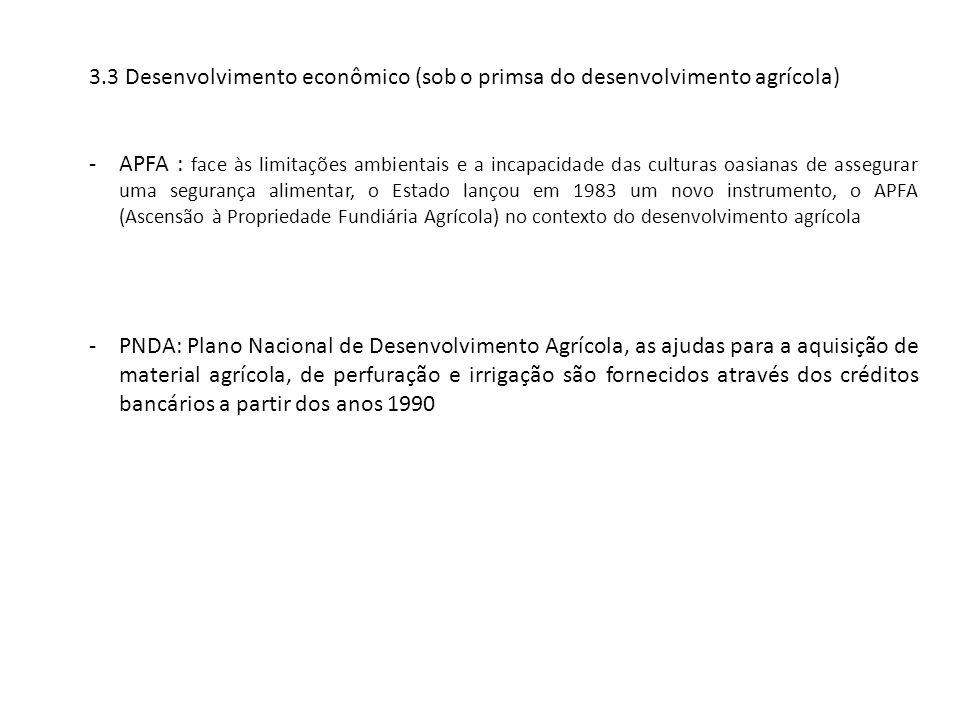3.3 Desenvolvimento econômico (sob o primsa do desenvolvimento agrícola) -APFA : face às limitações ambientais e a incapacidade das culturas oasianas de assegurar uma segurança alimentar, o Estado lançou em 1983 um novo instrumento, o APFA (Ascensão à Propriedade Fundiária Agrícola) no contexto do desenvolvimento agrícola -PNDA: Plano Nacional de Desenvolvimento Agrícola, as ajudas para a aquisição de material agrícola, de perfuração e irrigação são fornecidos através dos créditos bancários a partir dos anos 1990