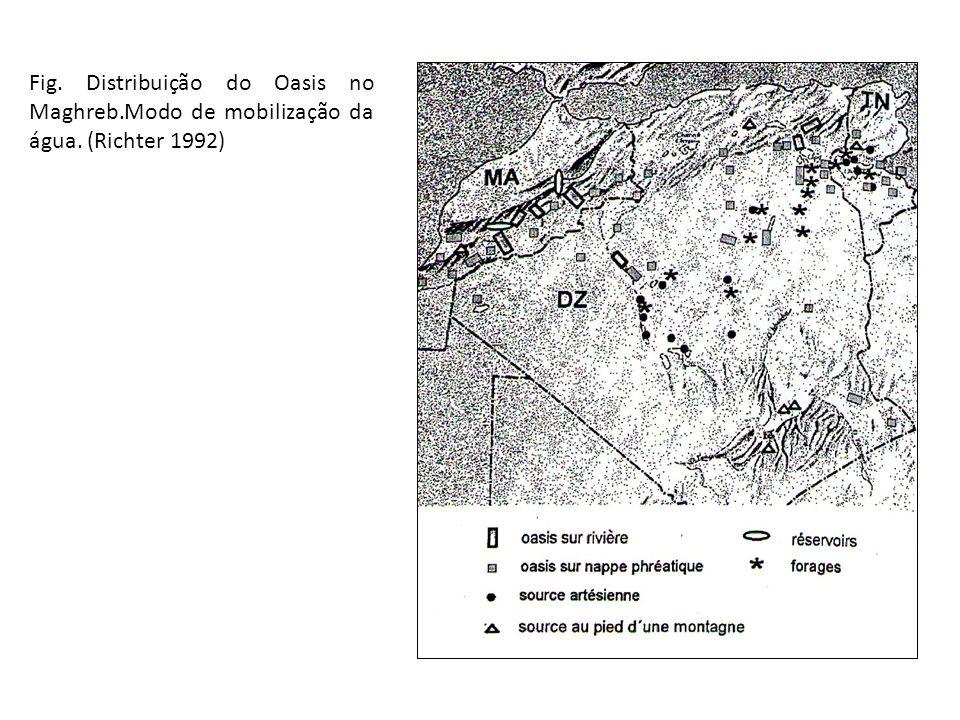 Fig. Distribuição do Oasis no Maghreb.Modo de mobilização da água. (Richter 1992)