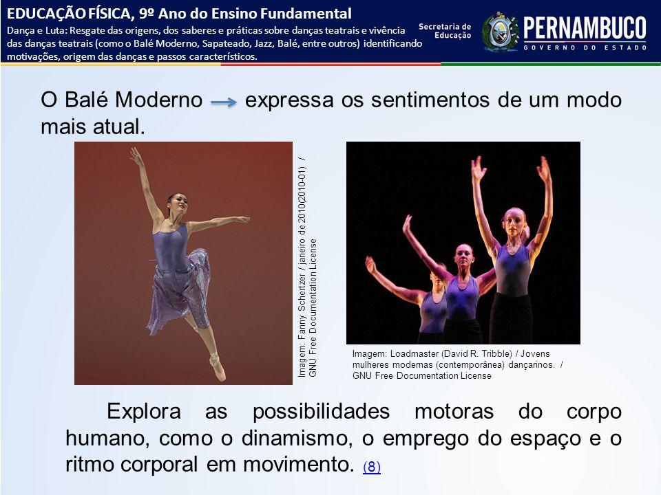 O Balé Moderno expressa os sentimentos de um modo mais atual. Explora as possibilidades motoras do corpo humano, como o dinamismo, o emprego do espaço