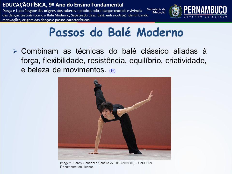 Passos do Balé Moderno  Combinam as técnicas do balé clássico aliadas à força, flexibilidade, resistência, equilíbrio, criatividade, e beleza de movi