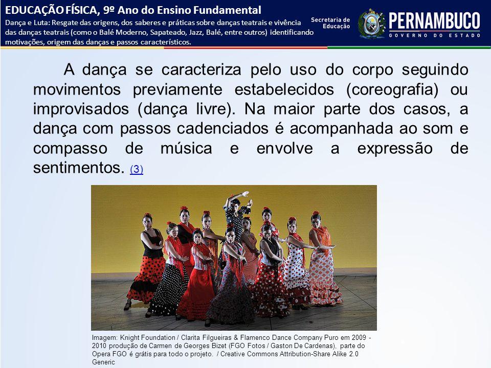 A dança se caracteriza pelo uso do corpo seguindo movimentos previamente estabelecidos (coreografia) ou improvisados (dança livre). Na maior parte dos