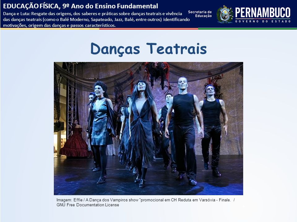 Danças Teatrais EDUCAÇÃO FÍSICA, 9º Ano do Ensino Fundamental Dança e Luta: Resgate das origens, dos saberes e práticas sobre danças teatrais e vivênc