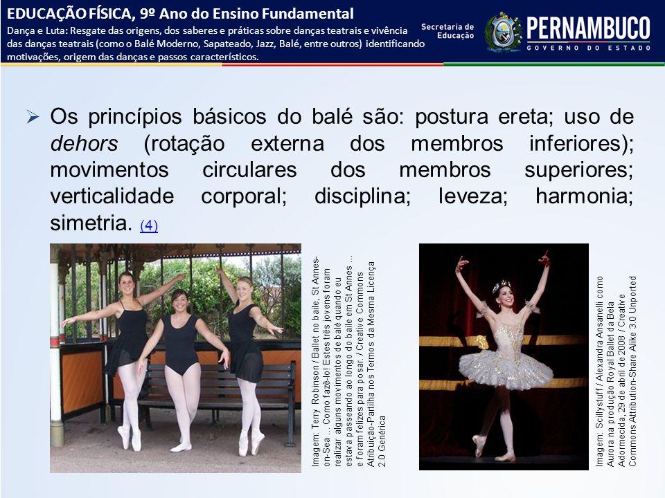  Os princípios básicos do balé são: postura ereta; uso de dehors (rotação externa dos membros inferiores); movimentos circulares dos membros superior