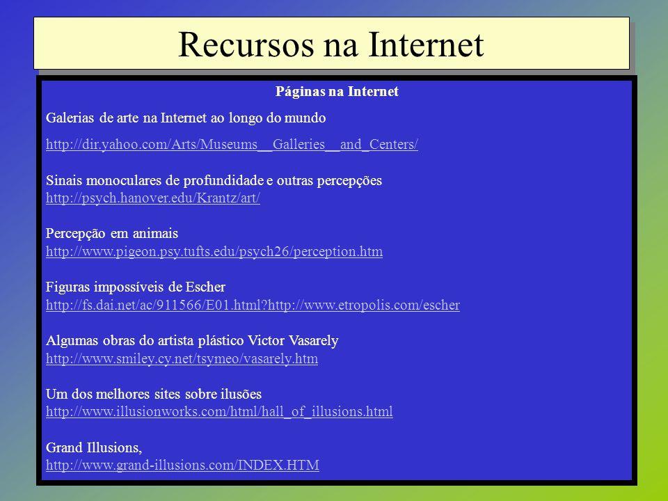 Recursos na Internet Páginas na Internet Galerias de arte na Internet ao longo do mundo http://dir.yahoo.com/Arts/Museums__Galleries__and_Centers/ Sin