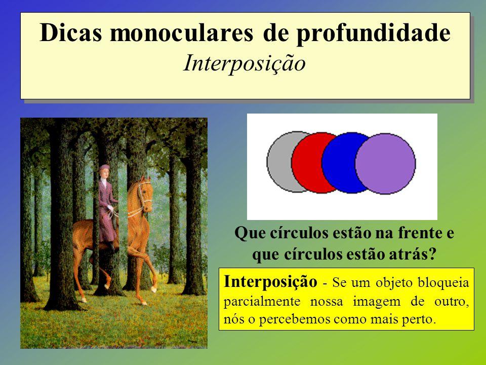Dicas monoculares de profundidade Interposição Interposição - Se um objeto bloqueia parcialmente nossa imagem de outro, nós o percebemos como mais per