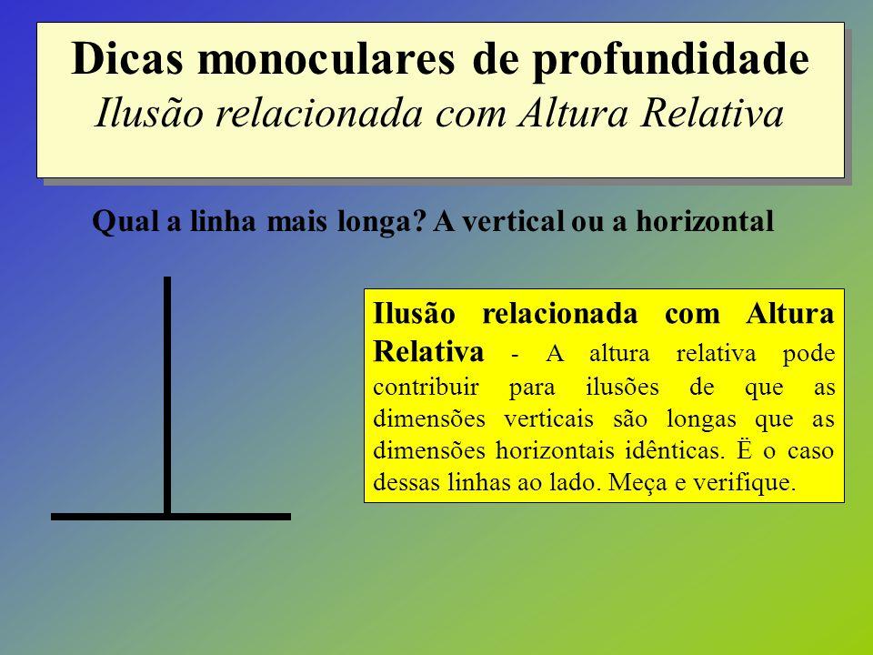 Dicas monoculares de profundidade Ilusão relacionada com Altura Relativa Ilusão relacionada com Altura Relativa - A altura relativa pode contribuir pa
