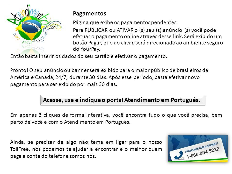 Pagamentos Página que exibe os pagamentos pendentes.