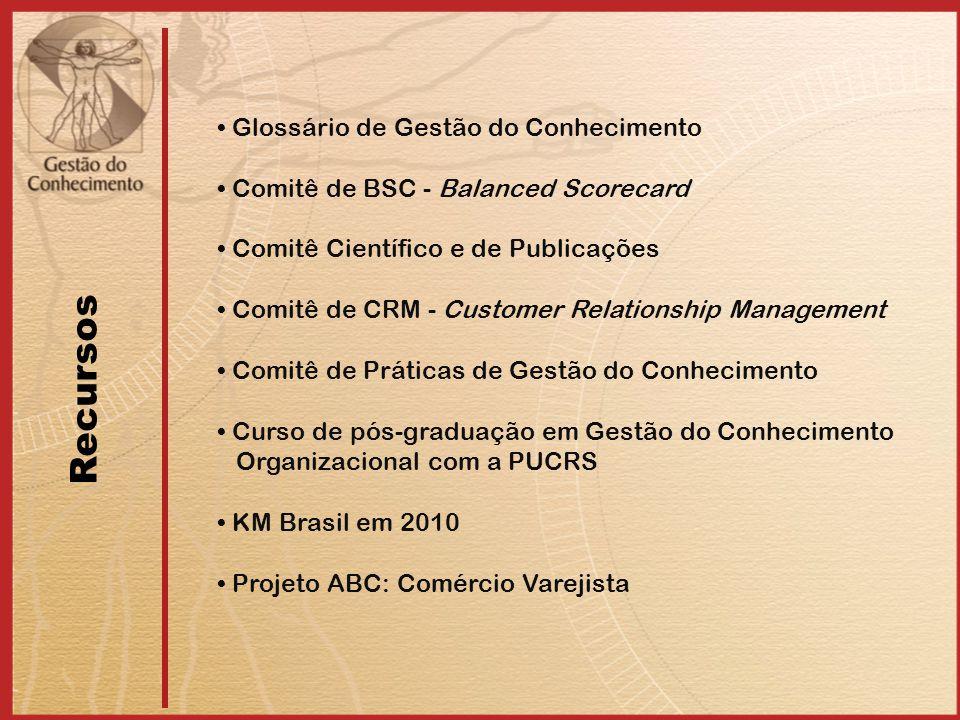 Glossário de Gestão do Conhecimento Comitê de BSC - Balanced Scorecard Comitê Científico e de Publicações Comitê de CRM - Customer Relationship Management Comitê de Práticas de Gestão do Conhecimento Curso de pós-graduação em Gestão do Conhecimento Organizacional com a PUCRS KM Brasil em 2010 Projeto ABC: Comércio Varejista Recursos