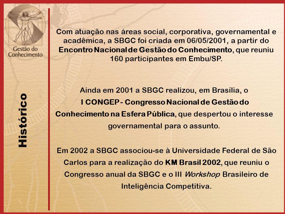 Histórico Com atuação nas áreas social, corporativa, governamental e acadêmica, a SBGC foi criada em 06/05/2001, a partir do Encontro Nacional de Gestão do Conhecimento, que reuniu 160 participantes em Embu/SP.