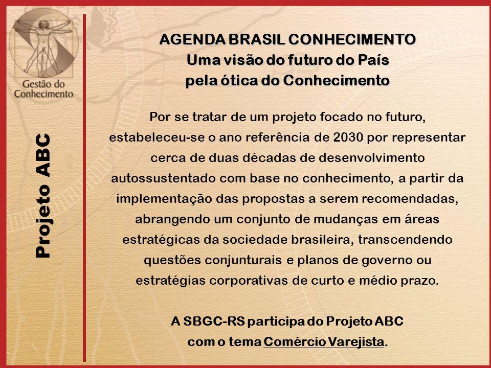 Projeto ABC AGENDA BRASIL CONHECIMENTO Uma visão do futuro do País pela ótica do Conhecimento Por se tratar de um projeto focado no futuro, estabelece