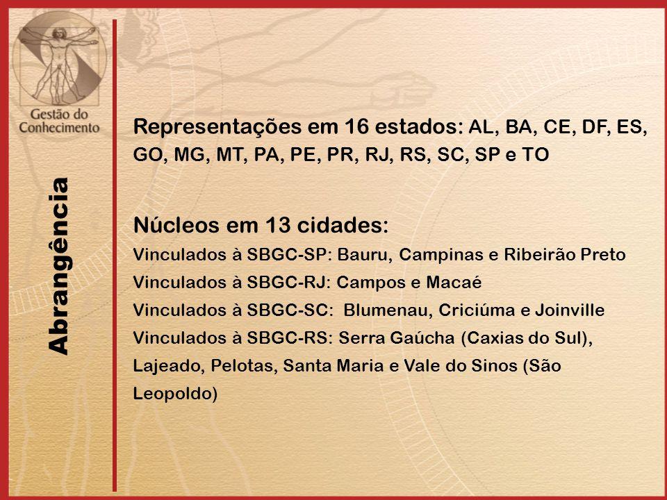 Abrangência Representações em 16 estados: AL, BA, CE, DF, ES, GO, MG, MT, PA, PE, PR, RJ, RS, SC, SP e TO Núcleos em 13 cidades: Vinculados à SBGC-SP: Bauru, Campinas e Ribeirão Preto Vinculados à SBGC-RJ: Campos e Macaé Vinculados à SBGC-SC: Blumenau, Criciúma e Joinville Vinculados à SBGC-RS: Serra Gaúcha (Caxias do Sul), Lajeado, Pelotas, Santa Maria e Vale do Sinos (São Leopoldo)